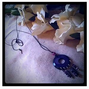 Vintage Lucite & Bead Dangle Pendant Necklace